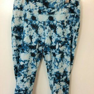 Zelos Blue Tie Dye Print Athleticwear Cropped Yoga